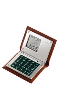 Калькулятор Dalvey с будильником в коже коричневый